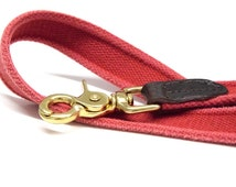 Dog lead textil webbing vintage washed cotton webbing lead with leather
