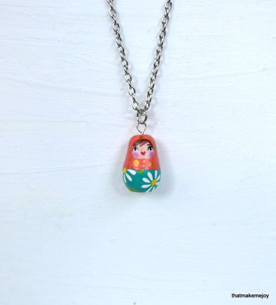Painted Matryoshka Collectible Russian Nesting Doll Jewelry Necklace ...