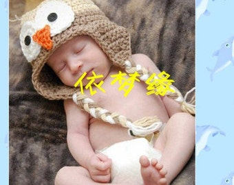 Crochet Newborn Baby, Owl Hat, Photography prop, hand knit,Ready to ship