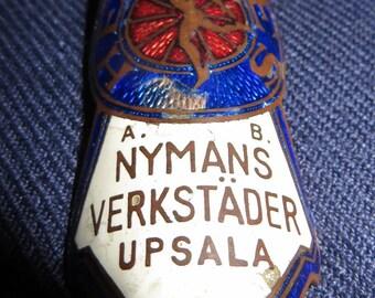 Antique Hermes Mercury Porcelain Enamel Bike Badge