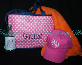 Personalized Pink, Aqua or Orange Dot Cooler Soft sides Drink Tote Beach Bag ONLY