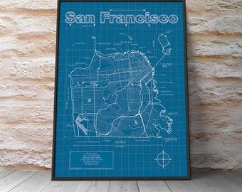 San Francisco Map / Original Artwork / San Francisco Blueprint / Wall Art / Anniversary Gift / Street Map / California Map / Birthday Gift