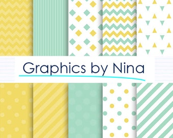 50% SALE INSTANT DOWNLOAD Mint and Yellow   Digital paper pack  for Personal and Commercial use Scrapbooking