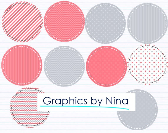 Instant Dowload Coral And Gray Circle Tags Clipart Scrapbook For