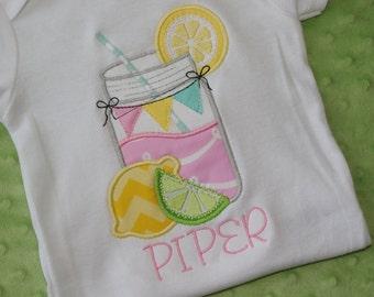 Lemonade in Mason Jar Applique- Summertime- Personalized