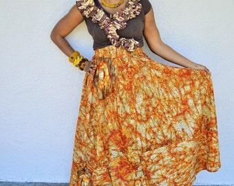 African Maxi Skirt, Orange African Ankara Print Maxi Skirt -Romantic Maxi Skirt Long cotton Skirt- Maxi Skirt By Zabba Designs