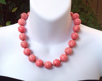 ON SALE. Pink Turquoise Necklace. Chunky Turquoise Necklace.
