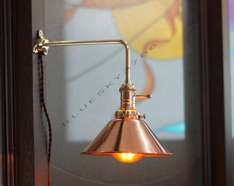 Wall Mounted Boom Lamp : Vintage Industrial Brass Boom Wall Lamp by bluesky3786 on Etsy