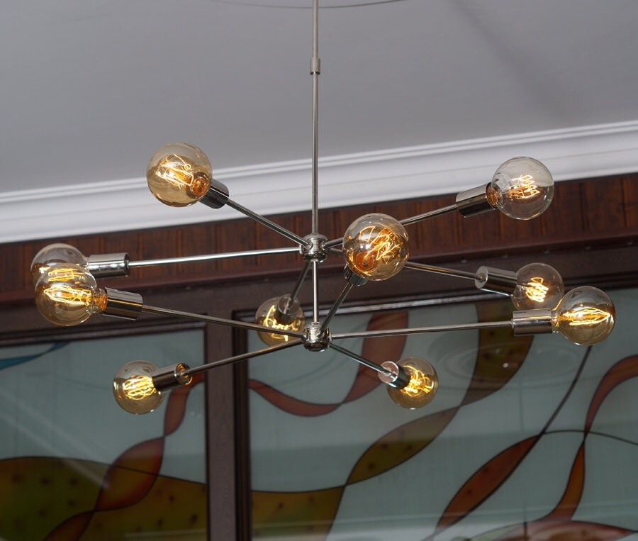 Modern Arm Chandelier: Modern Brass 10 Arms Sputnik Chandelier / Chromed By