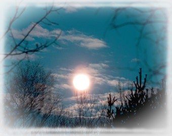 Photo Print - Full Worm Moon, Blue Night Sky and Full Moon