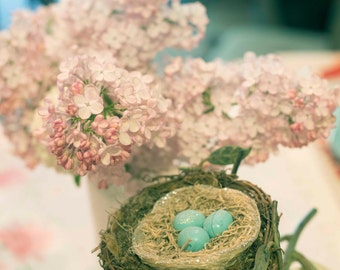 Photo Print - Pink Lilacs and Bird Nest, Vintage Expired Film Photography