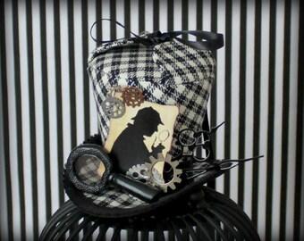 Sherlock Mini Top Hat, Sherlock Holmes Hat, Mini Top Hats , Mini Hat, Fascinator, Cosplay , Tea Party Hat  , Mini Top Hat , Mad Hatter Hat