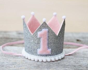 Girls 1st Birthday Pink and Silver Mini Crown - Winter Onederland Mini Headband Crown - Photo Prop