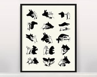 A Guide to Shadow Puppets - Shadow Puppet Alphabet - Puppetry - Kids Art - Kids Room - Kids Wall Art - Hand Puppets - Birds - Bear - Dog