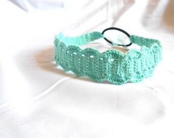 Crochet Headband - Crochet Hairband - Elastic Headband - Teal Headband - Teal Hairband - Cotton Headband - Stocking Stuffer - Yoga Headband