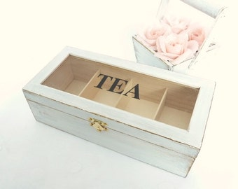 Wooden Tea Box with Compartments Rustic Chic Home Decor Country Cottage Organizer Box Storage Box Shabby Decor Jewelry Box White Distressed