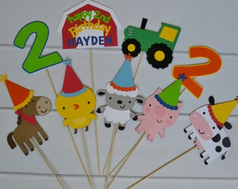 Farm Birthday Cake Toppers or Centerpieces