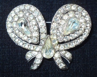 Rare Duette Truette Rhinestone Bow Brooch and Earrings 1950s Rhodium plated