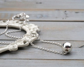 Silver Ball Necklace / Sterling Silver Ball Necklace / Floating Silver Ball Necklace / Sterling Silver Necklace / Simple Necklace