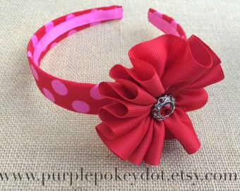Red and Pink Polka Dot Fabric Covered Headband with Red Jumble