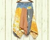 Denim Skirt, Boho Gypsy Skirt, Patchwork Tattered Hippie Skirt, Earth Friendly Upcycled Clothing, Free People Anthropologie Inspired