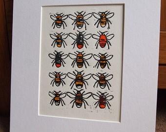 Bumble Bees Lino Print Lino Cut