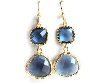 Navy blue earrings Montana blue earrings Gold blue bridesmaids earrings Blue bridesmaids jewelry Navy earrings