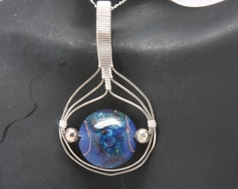 Side-to-Side Blue Bead Sterling Silver Wire Wrap Pendant SCS-115