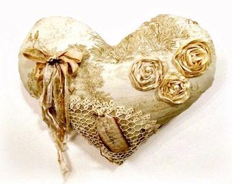 Heart Pillow, Decorative Rustic Home Decor, Romantic Bedroom Decor, BloomingGoddess,