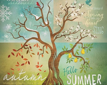 "MA2012b - Tetraptych Four Seasons Tree SET of 4 pieces - 12"" x 12"" each"