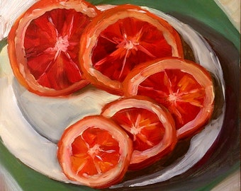 Oranges Oil Painting , Still Life Painting , Small Painting