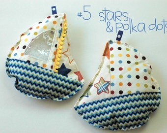 Patriotic stars and polka dots Sailboat I Spy bag