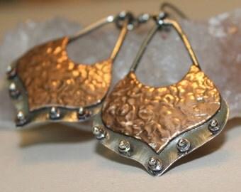 boho metal earrings - mixed metal earrings - bohemian earrings - copper earrings - silver and copper earring  - lightweight earring