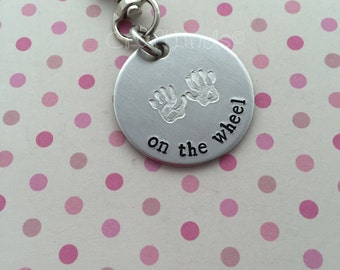 Hand stamped (two hands) on the wheel keychain for new drivers, personalised, names, driving test passed, new car