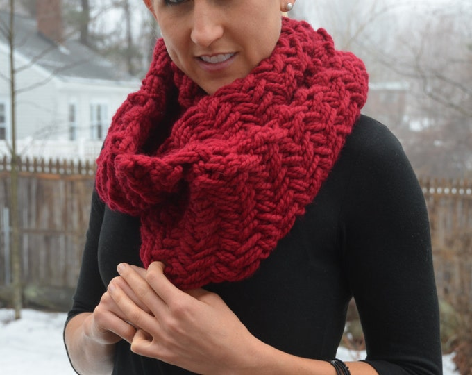 Herringbone Knit Chunky Cowl Scarf - MADE TO ORDER