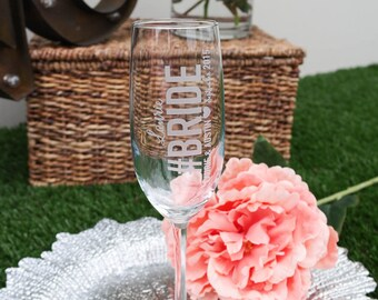 Personalized Hashtag Will You Be My Bridesmaid Champagne Flute (ONE) Custom Engraved Toasting Flute, Bridesmaid Proposal Gift, Pinterest