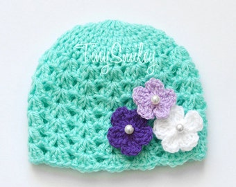 Mint Green Baby Hat, Flower Baby Girl Hat, Mint Green Beanie, Flower Baby Beanie, Crochet Girl Hat, Baby Girl Outfit, Baby Hospital Hat