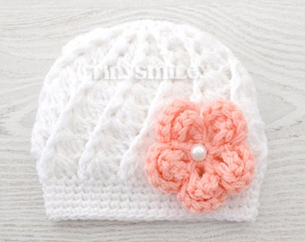White Baby Hat, White Baby Girl Hat, White Baby Girl Flower Beanie, White Baby Hat, Baby Hospital Hat, Baby Girl Crochet Hat, Infant Hats