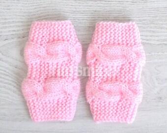 Leg Warmers, Pink Baby Girl Leg Warmers, Baby Knit Leg Warmers, Cable Leg Warmers, Newborn Knitted Leg Warmers, Baby Girl Outfits, Newborn