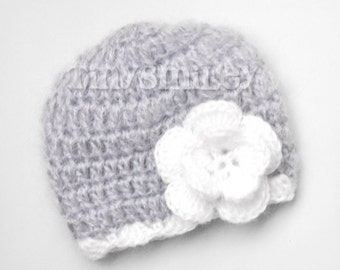 Crochet Baby Girl Hat, Gray Crochet Baby Flower Beanie, Mohair Baby Hat, Newborn Baby Girl Hat, Gray Baby Girl Beanie, Baby Hospital Hats