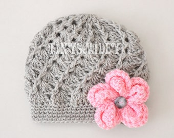 Baby Hat, Crochet Baby Girl Hat, Gray Baby Hat, Newborn Girl Hat, Hospital Hat, Baby Hospital Hat, Infant Hats, Flower Baby Hat, Baby Girl