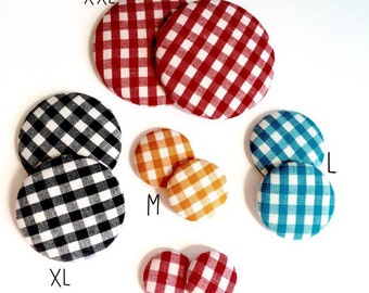Gingham Button Earring