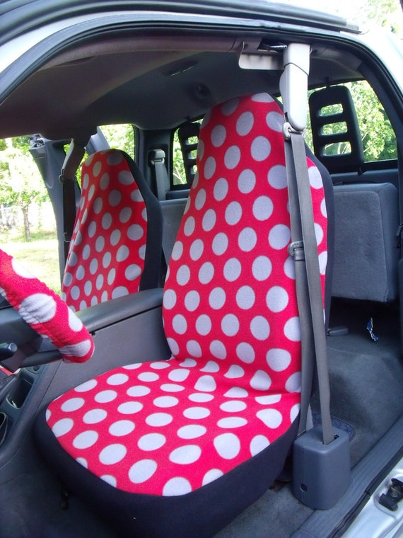 1 Set of Red with Grey Dots Print  Car Seat Covers and steeling wheel cover custom made.