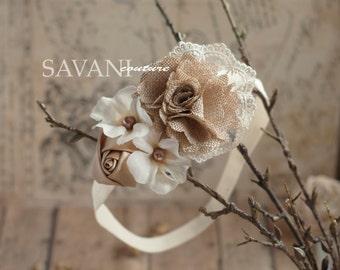 ivory lace beige headband, vintage headband, shabby chic roses headband, headband
