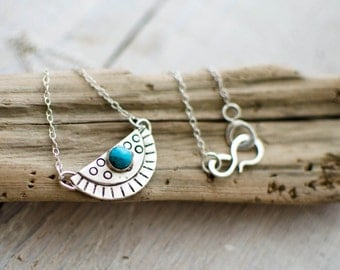 Necklace silver massive, ethnic, tribal, line, turquoise, black and white half-circle