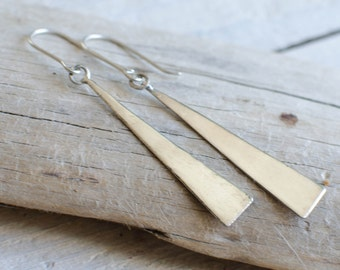 earring silver massive, long curls triangles, minimizes, modern