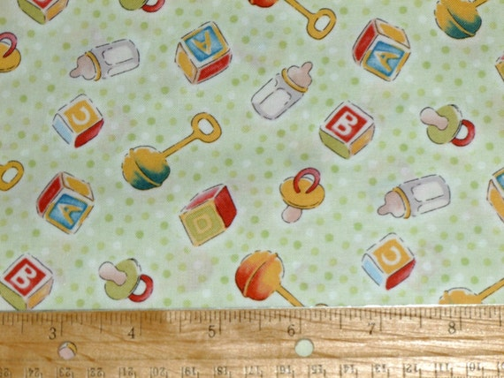 Nursery green baby print fabric destash baby by for Nursery print fabric