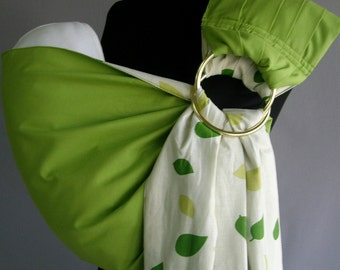 Baby Sling Ring/Green Ring Sling/Baby Carrier/Reversible Baby ring Sling/Baby wrap ,Green leaves ,White