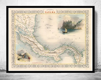 Vintage Map of Panama, Old map 1857