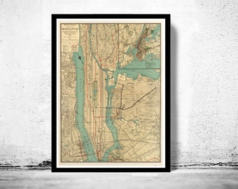 Old New York and Manhattan map 1924